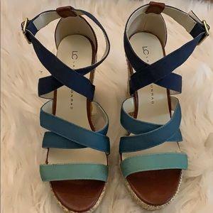 LAUREN CONRAD Stella Blue Green Wedge Heel